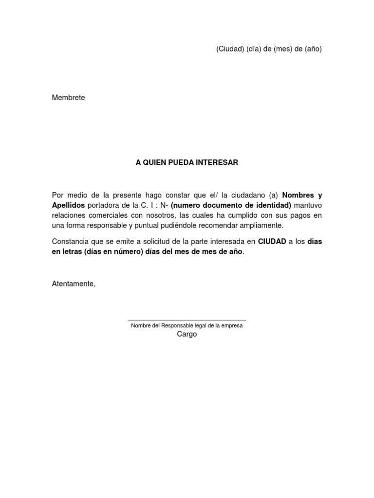 ejemplo de referencia comercial en colombia