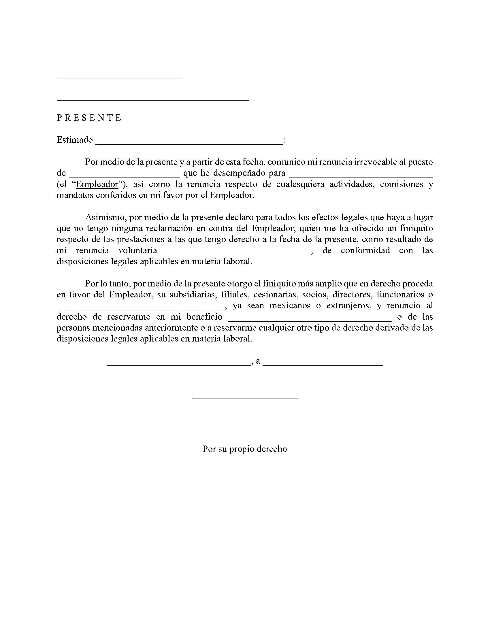 ejemplos de carta de renuncia voluntaria con preaviso en Estados Unidos