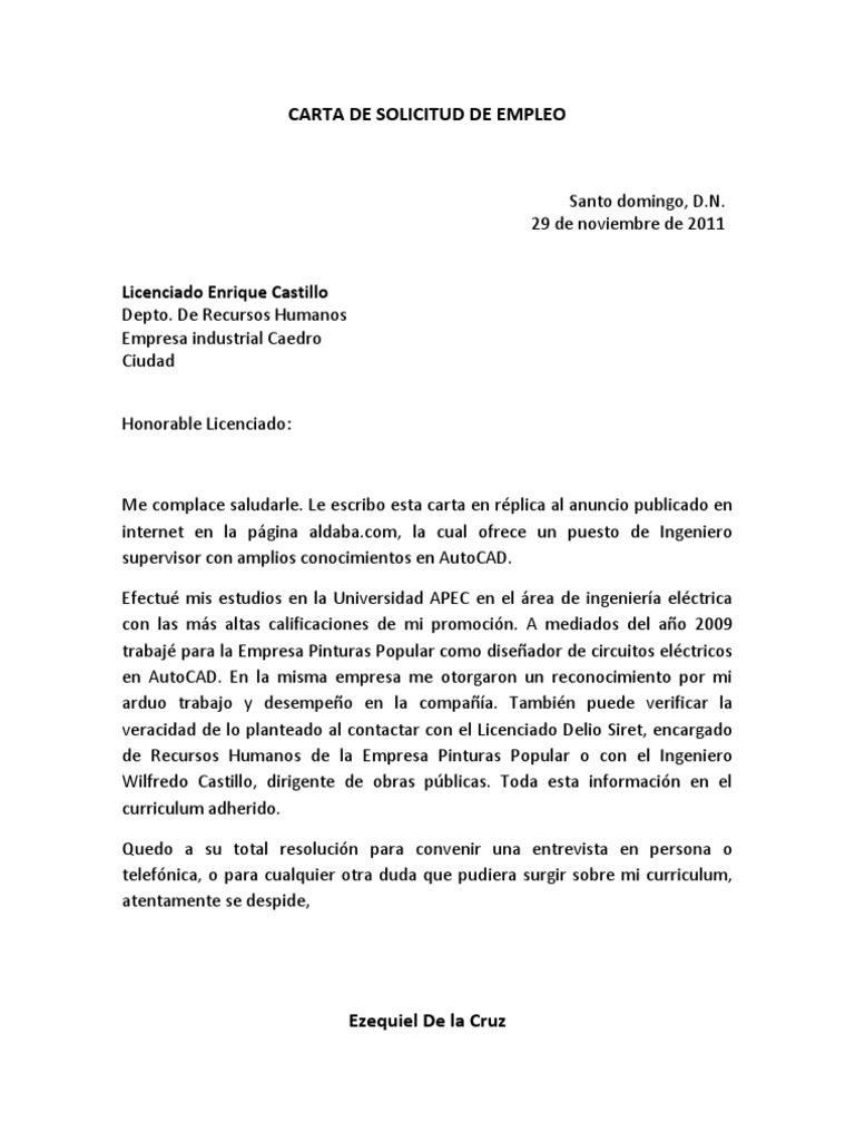 ejemplos de carta de presentación para un trabajo en Guatemala