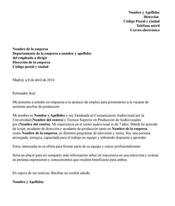 Ejemplos carta presentación en México