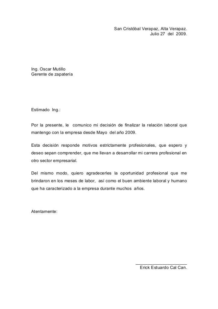 ejemplos de carta de renuncia en Argentina