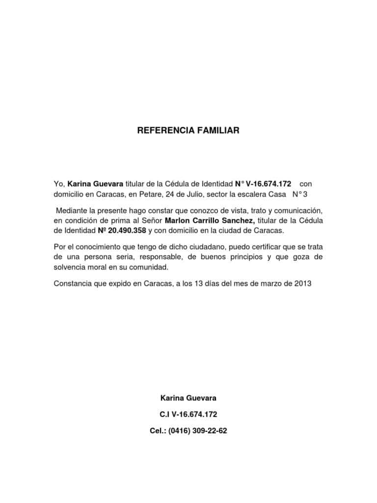 ejemplos de recomendación personal en Guatemala